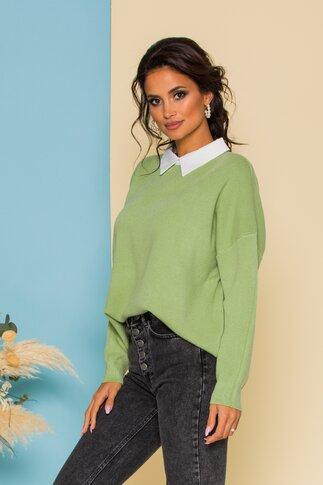 Bluza Diana verde jerse cu guler tip camasa
