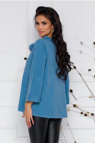 Bluza Dima bleu cu decolteu barcuta