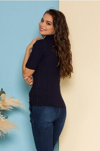 Bluza din tricot bleumarin mulata cu maneci scurte