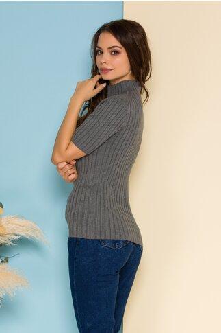 Bluza din tricot gri mulata cu maneci scurte