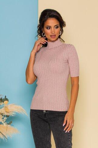 Bluza din tricot roz pudrat mulata cu maneci scurte