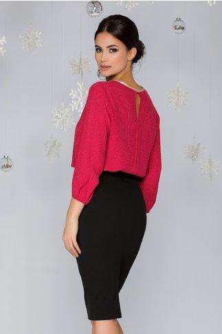 Bluza Dolly rosie cu buline si detalii aurii