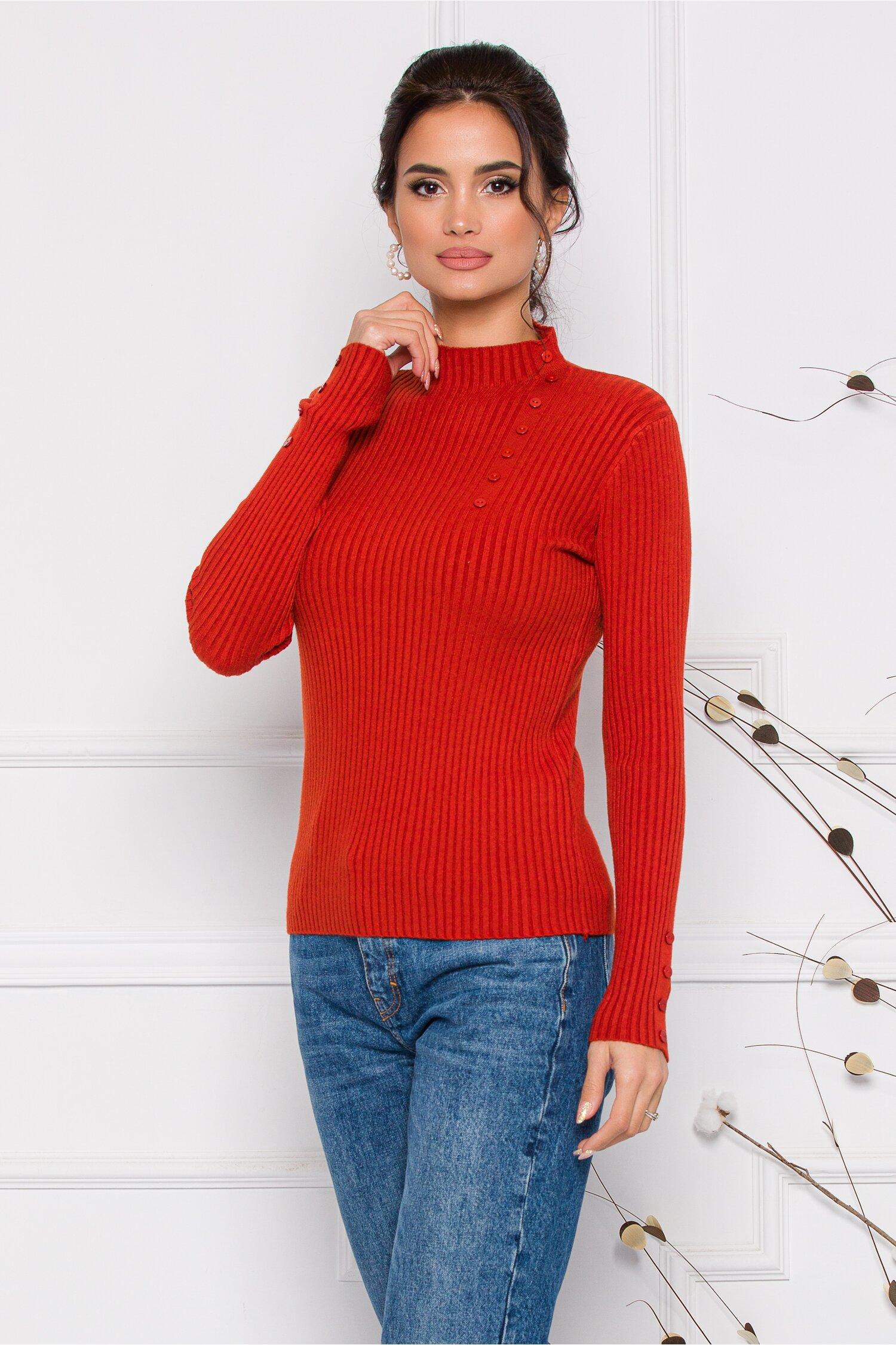 Bluza Dora caramiziu din tricot reiat cu nasturi delicati la bust imagine