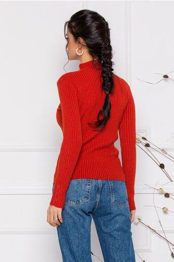 Bluza Dora caramiziu din tricot reiat cu nasturi delicati la bust