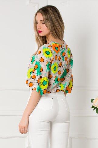 Bluza Dora cu margarete multicolore