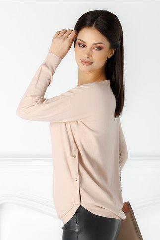 Bluza Dora roz prafuit cu nasturi aurii