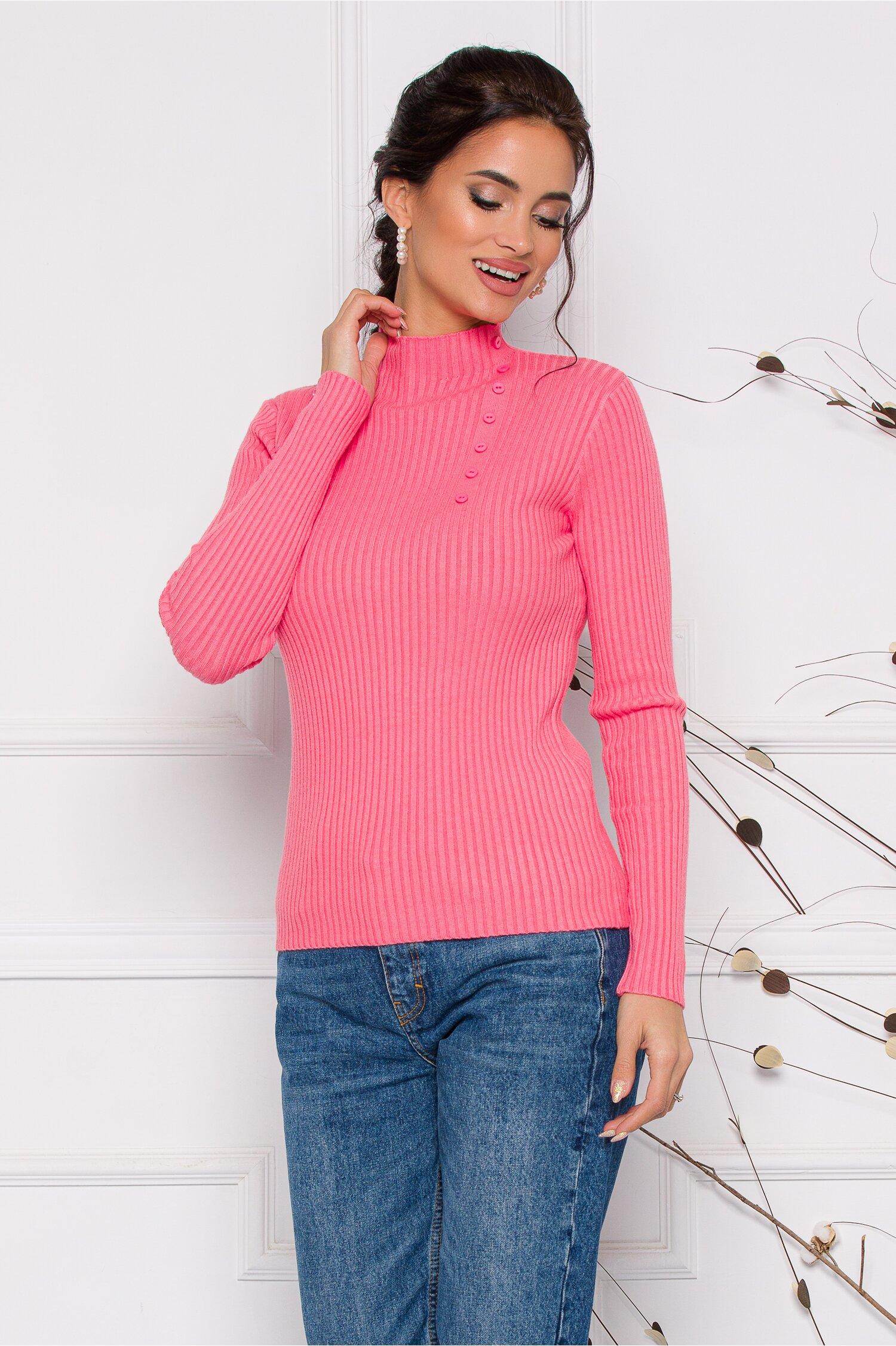 Bluza Dora roz somon din tricot reiat cu nasturi delicati la bust imagine