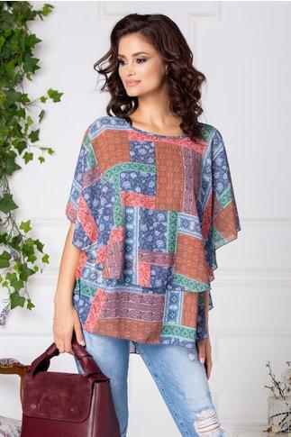 Bluza Dora vaporoasa cu imprimeu multicolor