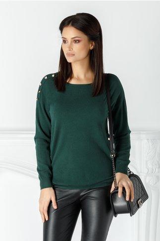 Bluza Dora verde cu nasturi aurii