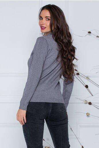 Bluza Dori gri cu textura striata pe maneci si laterale