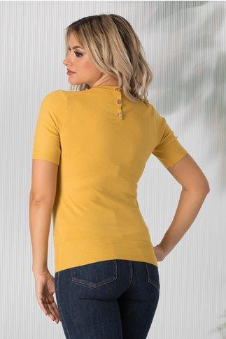 Bluza Dyna galbena cu maneca scurta tip tricot