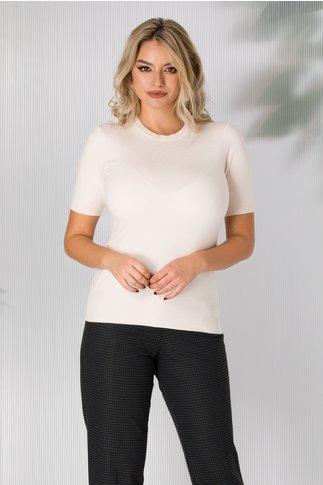Bluza Dyna ivory cu maneca scurta tip tricot