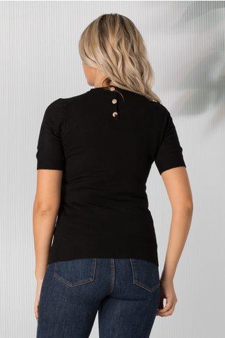 Bluza Dyna neagra cu maneca scurta tip tricot