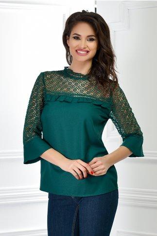 Bluza Electra verde cu maneci din broderie