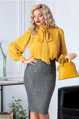 Bluza eleganta galben mustar cu mansete si guler esarfa