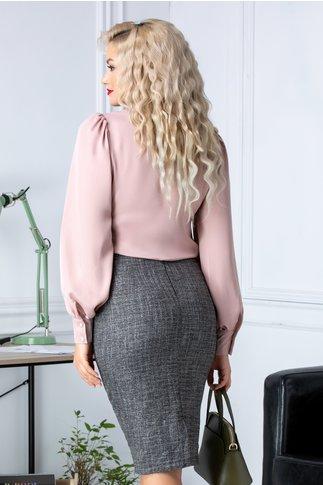 Bluza eleganta roz pudrat cu mansete si guler esarfa