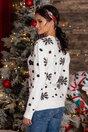 Bluza Elfs alba cu imprimeu de iarna