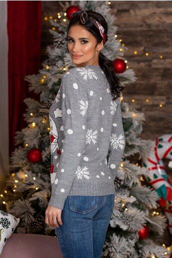 Bluza Elfs gri cu imprimeu de iarna