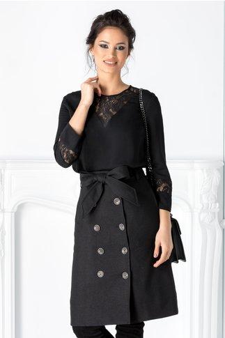 Bluza Elisa neagra cu insertii din dantela