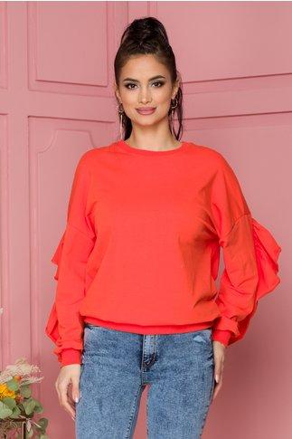 Bluza Elise orange cu volane pe spate si pe maneci
