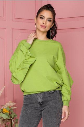 Bluza Elise verde cu volane pe spate si pe maneci