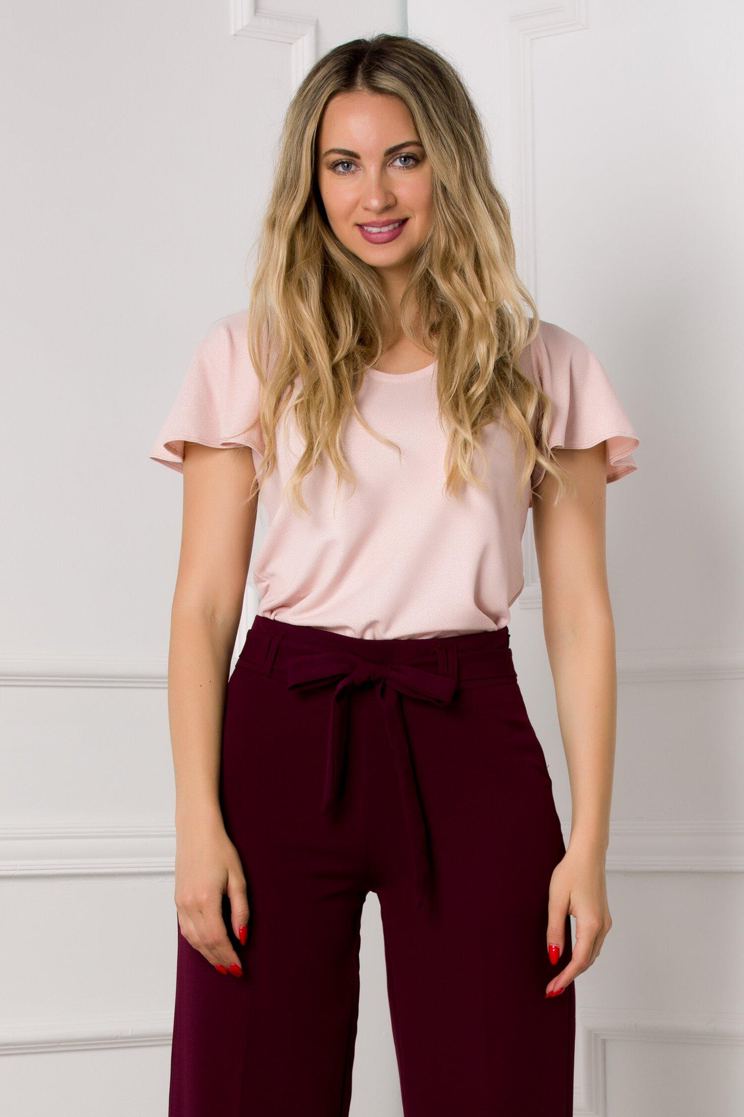 Bluza Ella Collection Ema roz pudrat cu fir stralucitor
