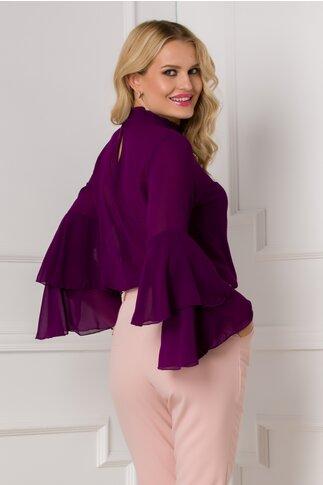 Bluza Ella Collection Lucy eleganta mov cu maneci tip clopot
