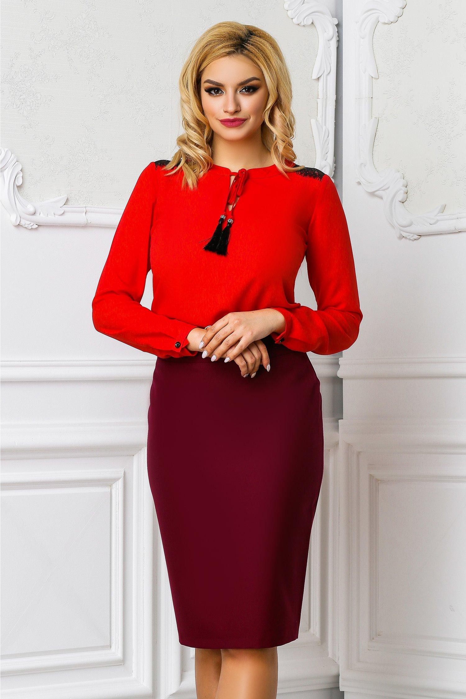 Bluza Ema rosu corai office cu dantela