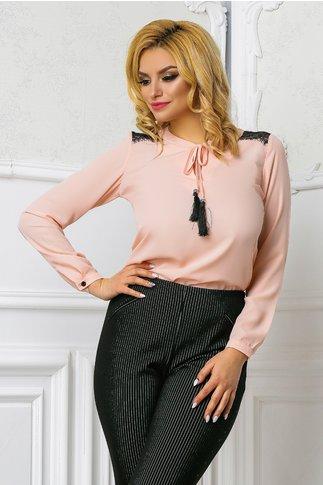 Bluza Ema roz pudra office cu dantela