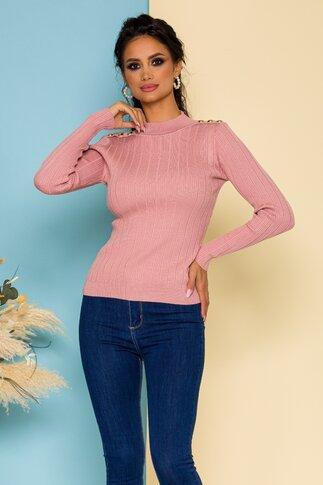 Bluza Enelise roz pudrat din tricot accesorizata cu nasturi decorativi aurii