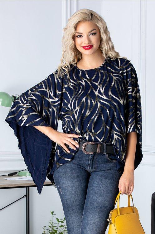 Bluza Fany asimetrica bleumarin cu imprimeu divers