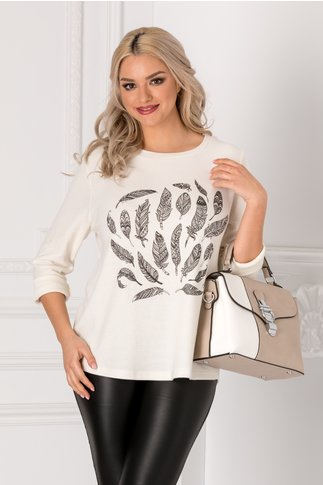 Bluza Feather alba cu imprimeu la bust