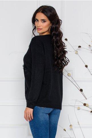 Bluza Feather neagra cu aplicatii
