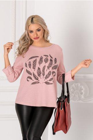 Bluza Feather roz cu imprimeu la bust