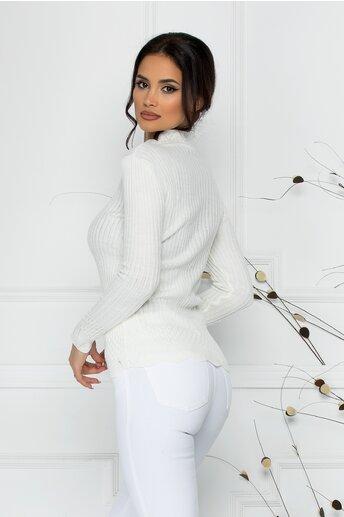 Bluza Felicia alba cu impletituri la guler