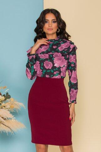 Bluza Flavia neagra cu imprimeu floral mov si volane
