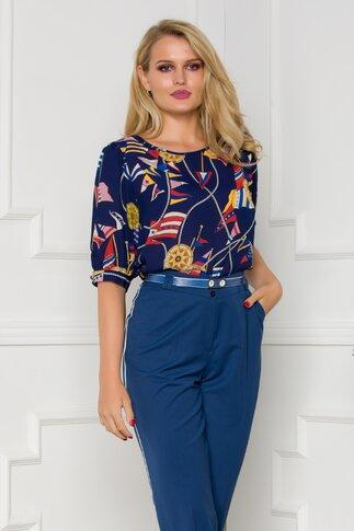 Bluza Fleur bleumarin cu imprimeu marinaresc