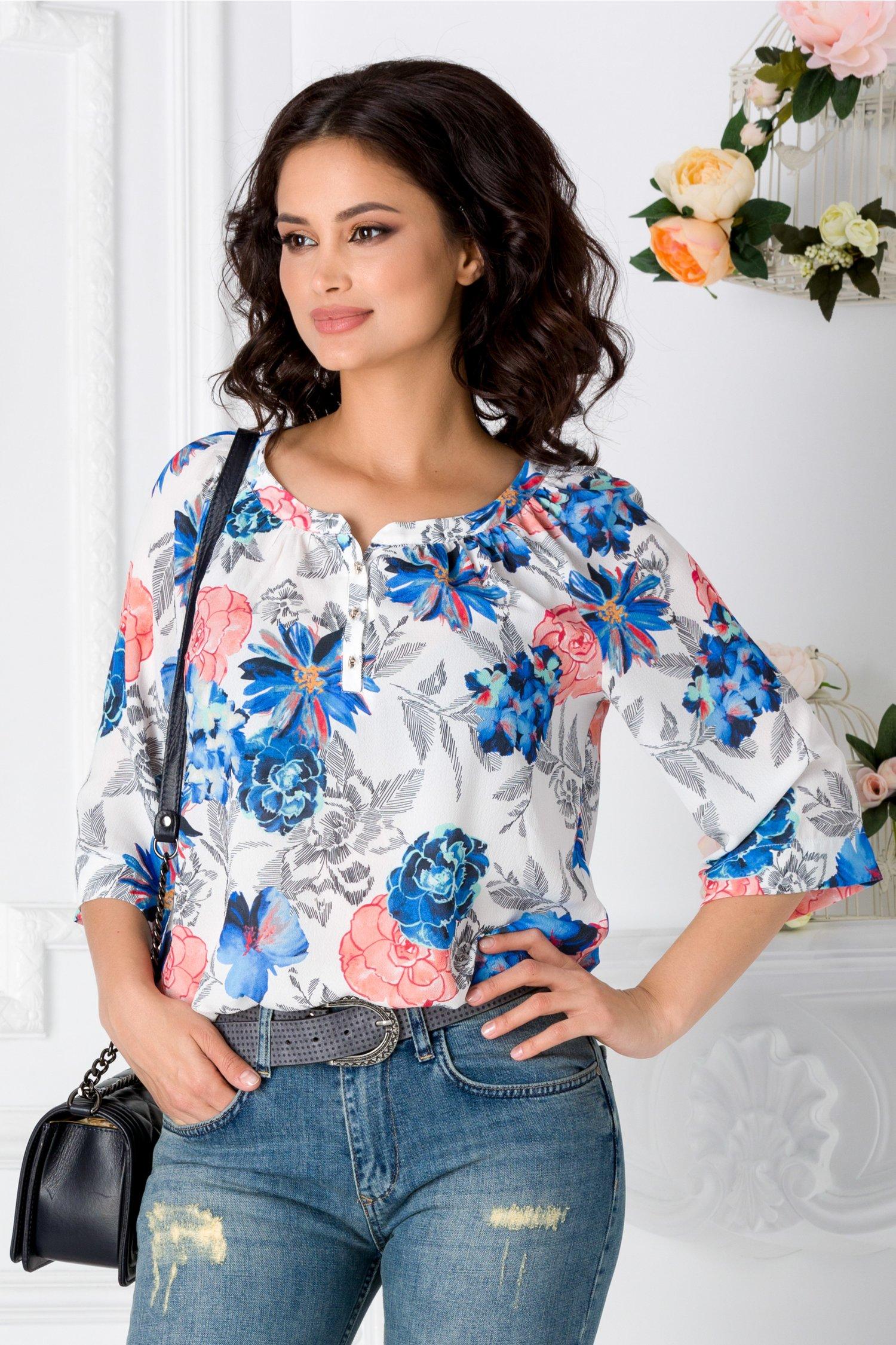 Bluza Flore alba cu imprimeu floral colorat