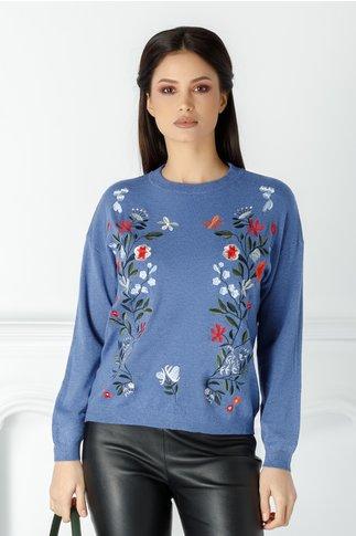 Bluza Floris albastra cu flori brodare