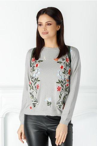 Bluza Floris gri cu flori brodate