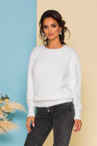 Bluza Fluffy alba din tricot pufos