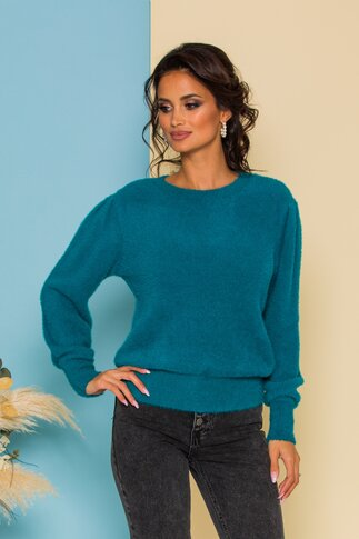 Bluza Fluffy turcoaz din tricot pufos