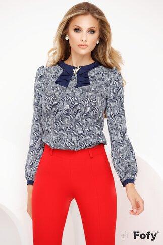 Bluza Fofy bleumarin din voal cu bulinute si guler decorativ