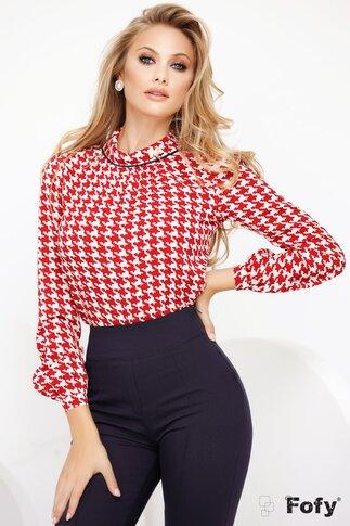 Bluza Fofy rosie cu imprimeu pied du coq si guler sal