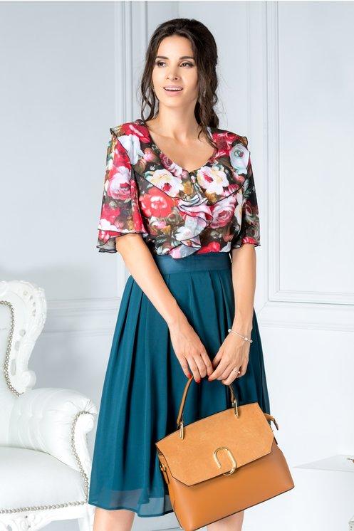 Bluza Future din voal cu imprimeu floral colorat