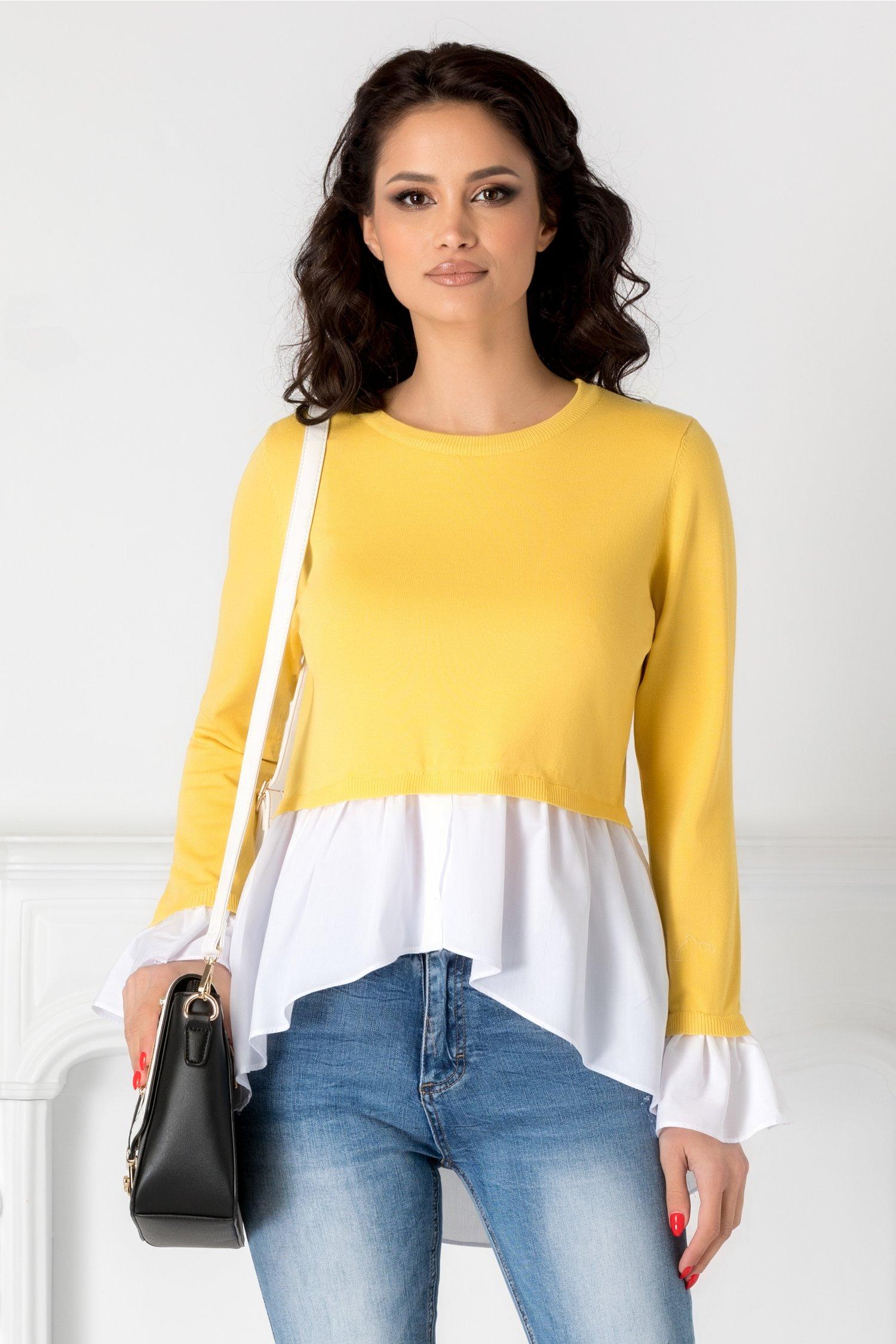 Bluza galben cu alb casual