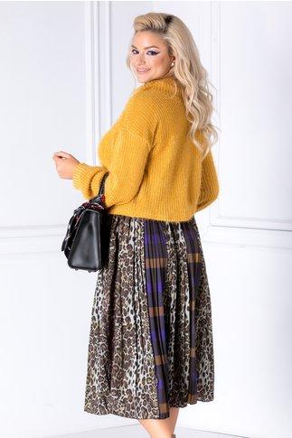 Bluza galben mustar din tricot catifelat cu fir stralucitor
