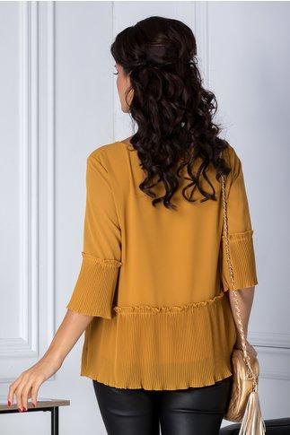 Bluza galben mustar eleganta plisata la baza si maneci