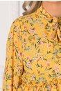 Bluza galbena cu imprimeu floral si volanase la baza