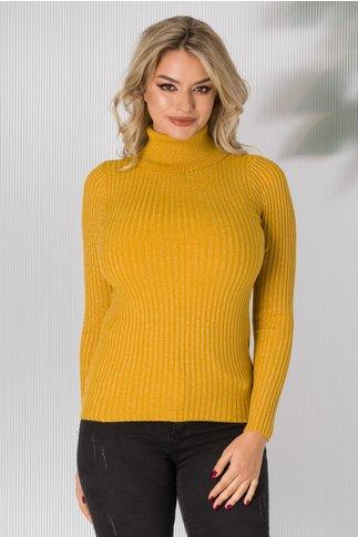 Bluza galbena pe gat tip tricot cu sclipici